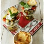 Bicchieri alle verdure e crema di caprino profumata al basilico