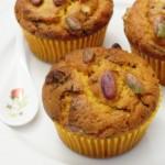 Muffins al succo di carota, cioccolato e pistacchi