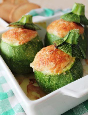 zucchine tonde ripiene di mortadella