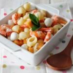 """Pasta fredda con gamberi, melone e mozzarella, profumata alla menta…la mia seconda ricetta per """"A Tavola"""""""