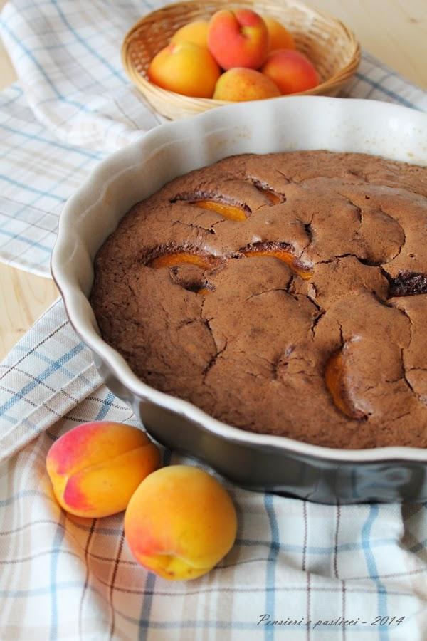 torta leggera al cacao e albicocche