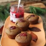 Muffins al grano saraceno e confettura di lamponi