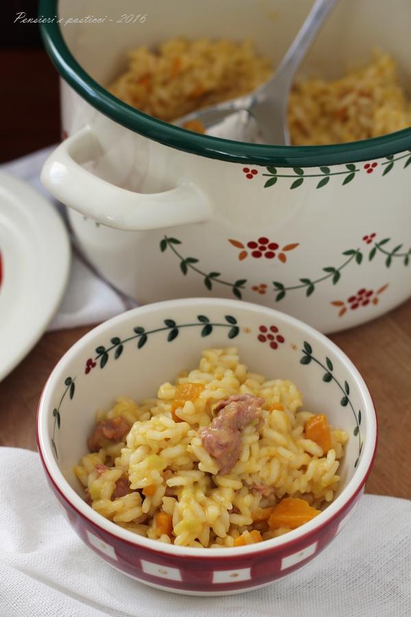 risotto con porri zucca e salsiccia