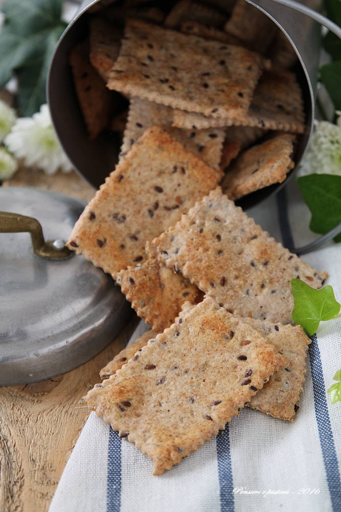 crackers integrali con erbe di provenza e semi di lino 3