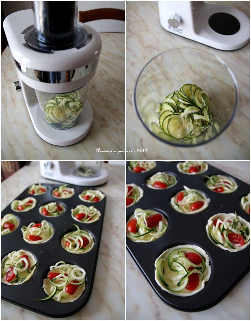 tartellette tricolori zucchine e pomodori