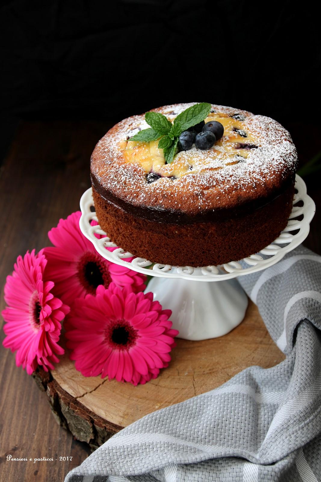 torta alla crema di ricotta e mirtilli