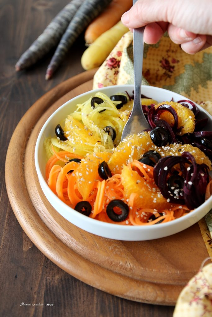 insalata di carote, olive ed arancia