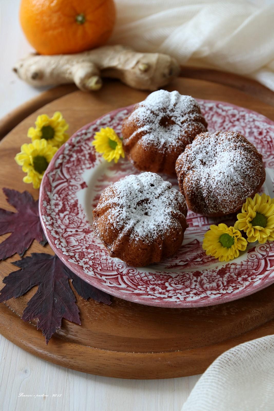 Tortine semi-integrali al succo di mela, agrumi e zenzero