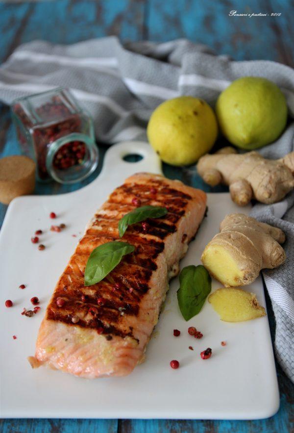 salmone alla piastra marinato al limone e zenzero