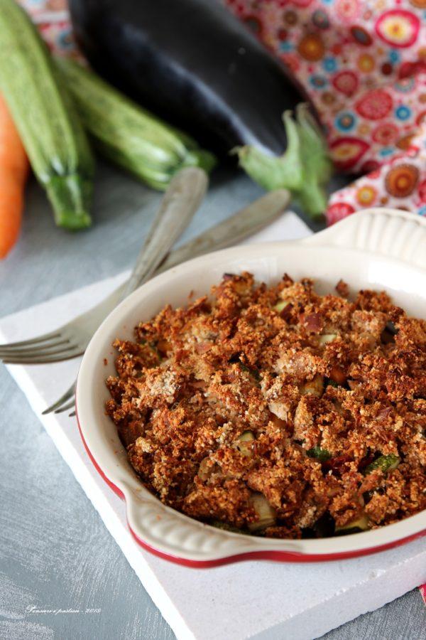 verdure al forno con crumble di tonno