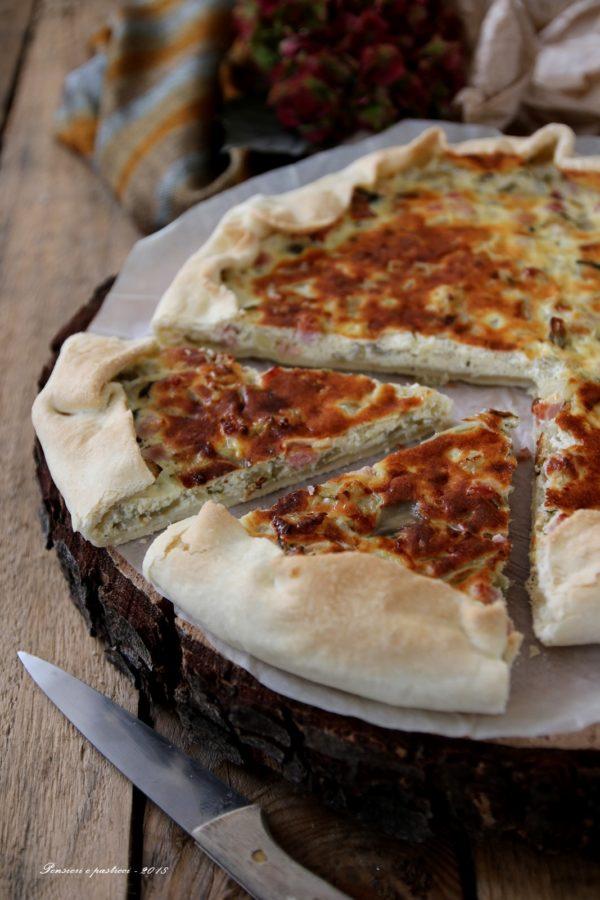 torta salata di coste di bietola e speck