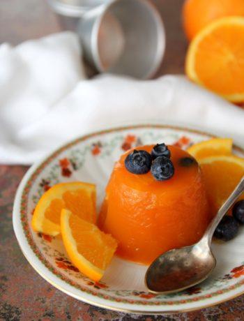 gelatina al succo di frutta e mirtilli