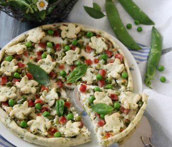 crostata salata al basilico piselli e prosciutto