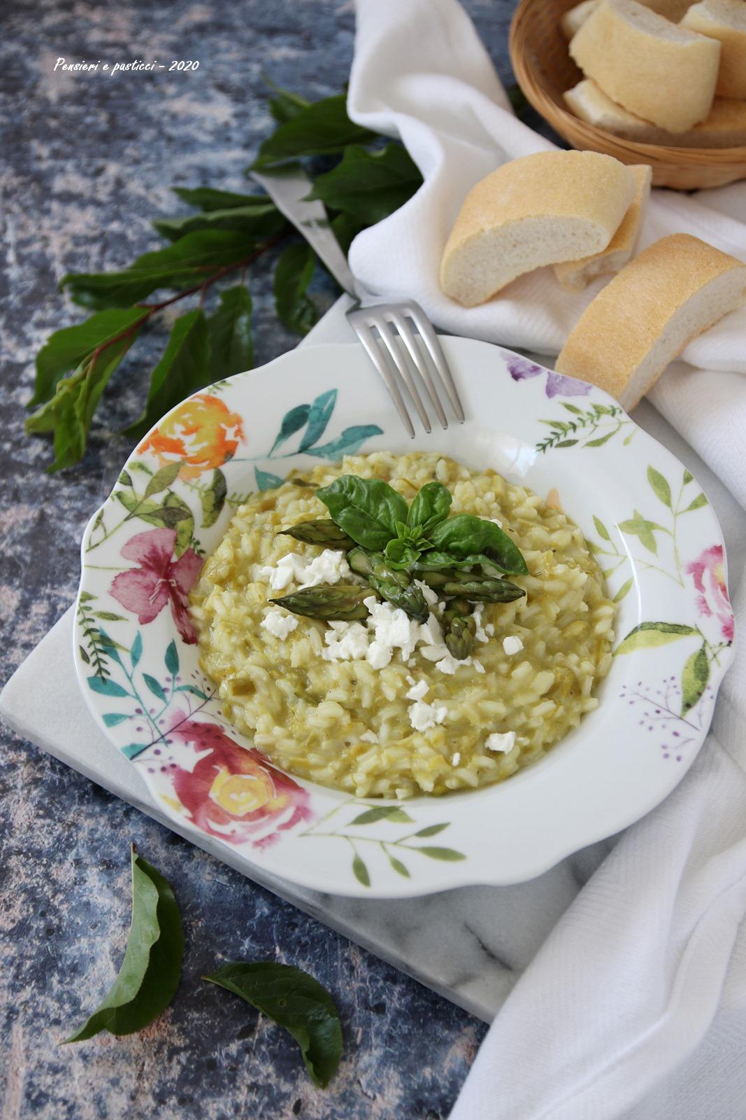 risotto agli asparagi basilico e feta
