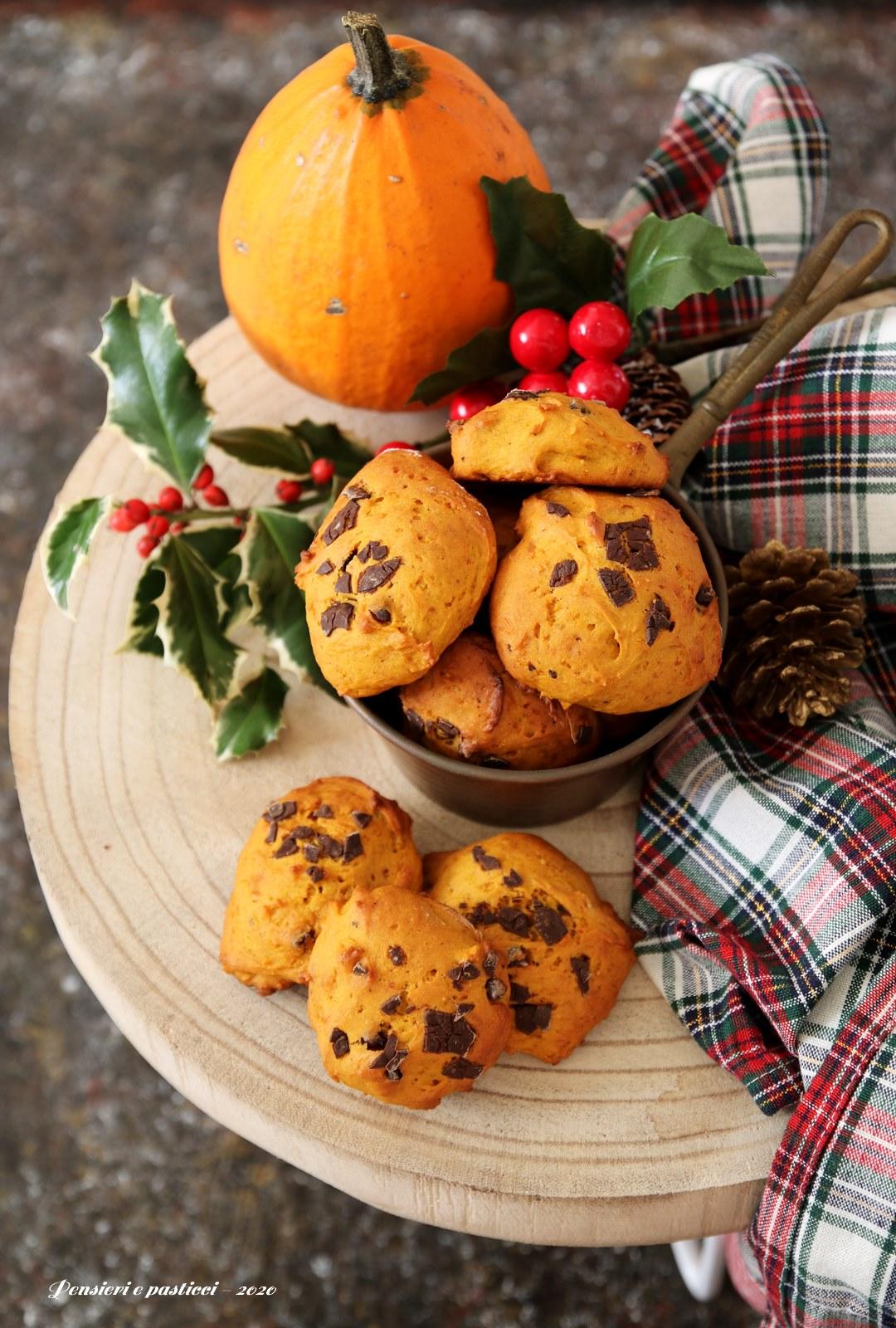 biscotti morbidi alla zucca e cioccolato