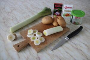 dadolata di pollo patate e porri